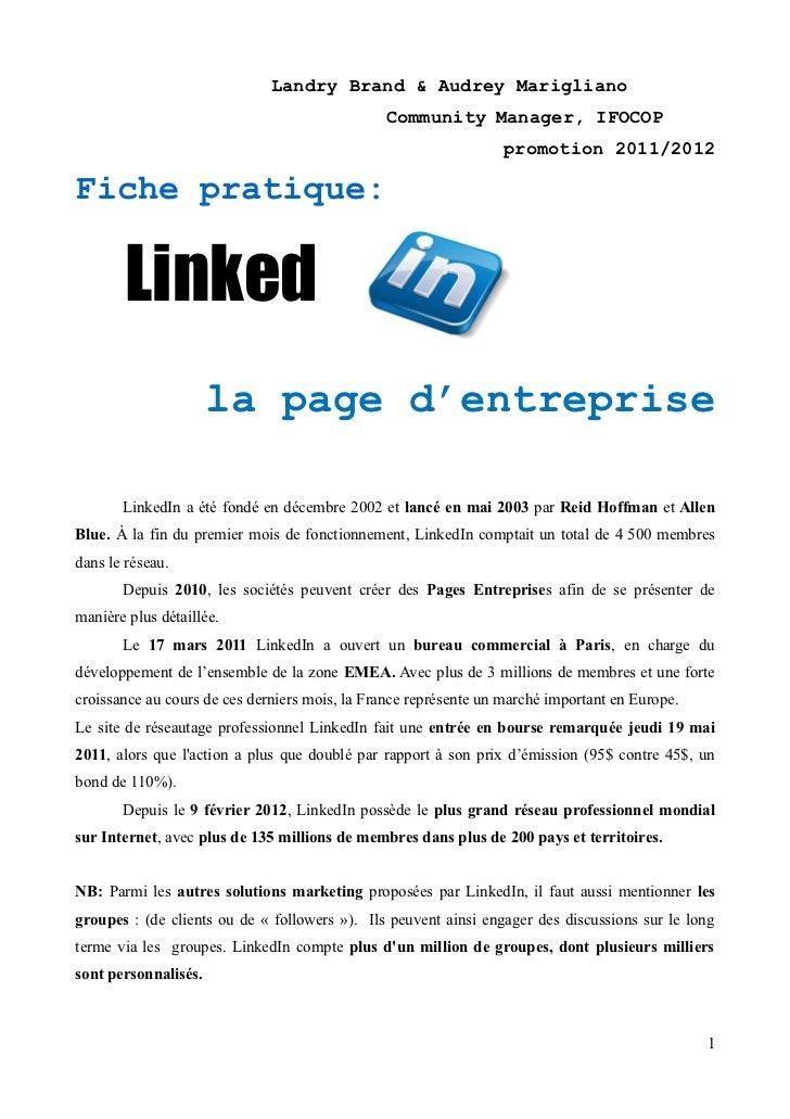 Fiche pratique linkedin : La page Entreprise