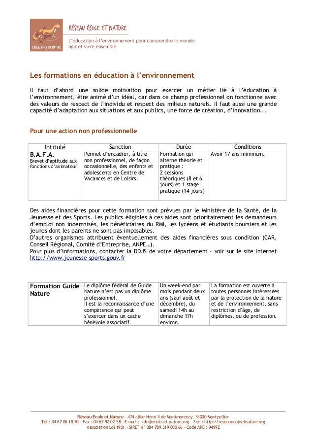 Réseau Ecole et Nature – 474 allée Henri II de Montmorency, 34000 MontpellierTel : 04 67 06 18 70 – Fax : 04 67 92 02 58 –...