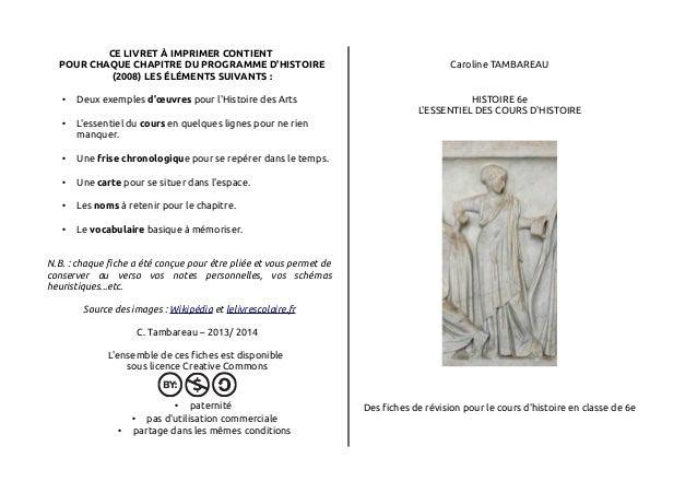 CE LIVRET À IMPRIMER CONTIENT  POUR CHAQUE CHAPITRE DU PROGRAMME D'HISTOIRE  (2008) LES ÉLÉMENTS SUIVANTS :  • Deux exempl...