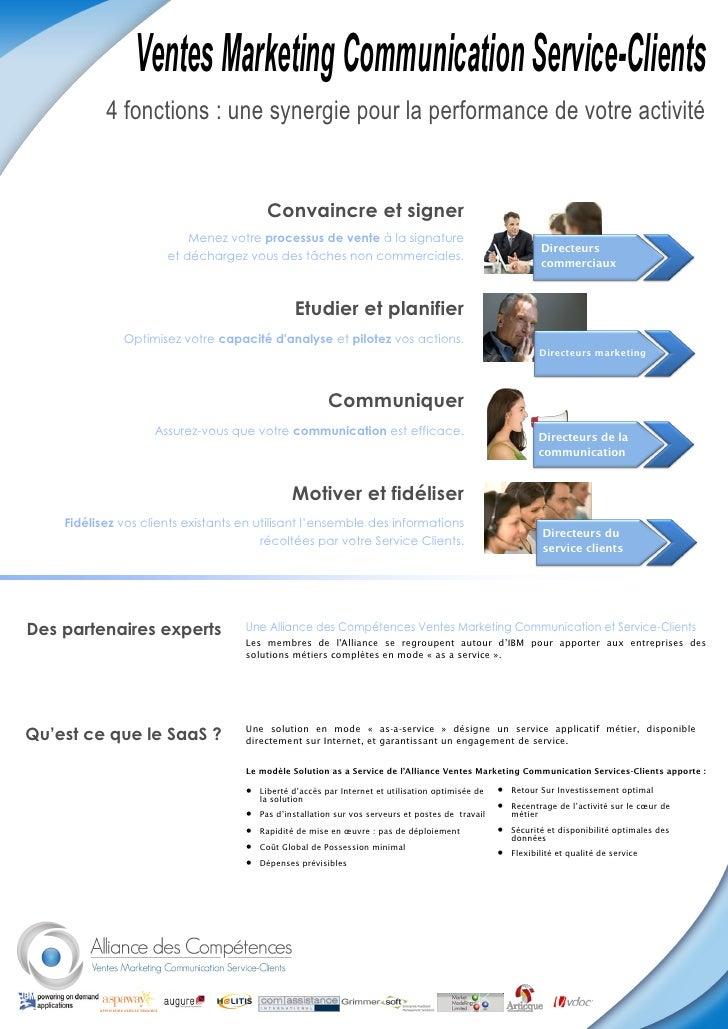 Ventes Marketing Communication Service-Clients            4 fonctions : une synergie pour la performance de votre activité...