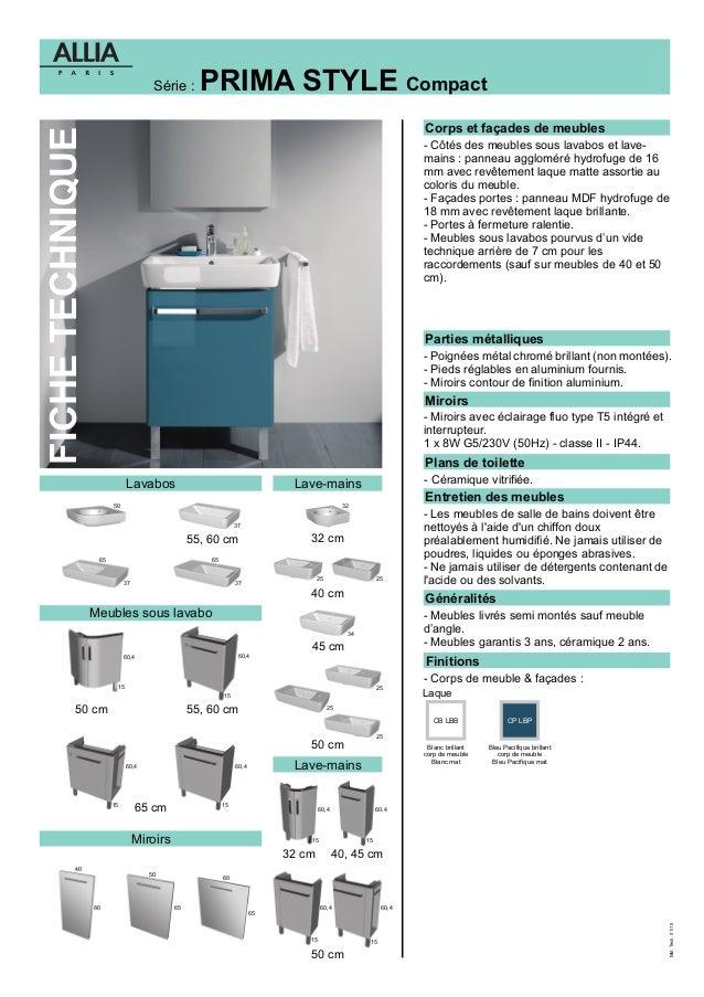 Fiche technique meubles prima style par allia salle de bains - Meuble salle de bain allia ...