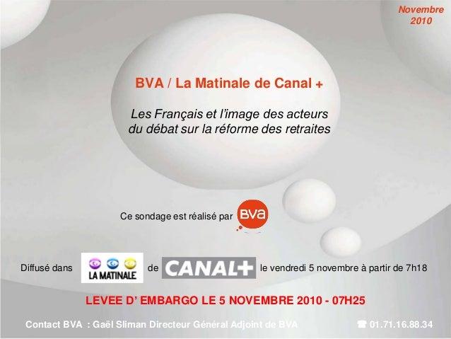 BVA / La Matinale de Canal + Les Français et l'image des acteurs du débat sur la réforme des retraites LEVEE D' EMBARGO LE...