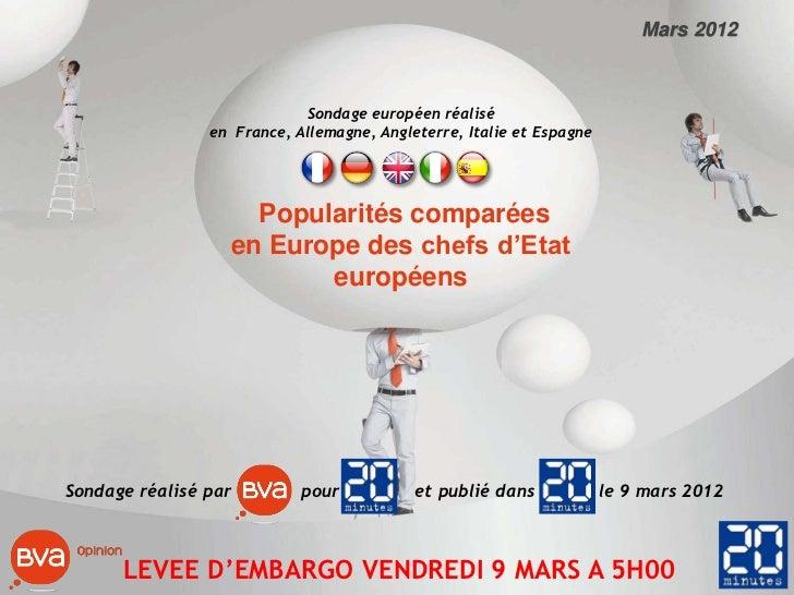 Mars 2012                            Sondage européen réalisé                en France, Allemagne, Angleterre, Italie et E...