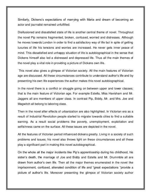 great expectations thesis essay example Great expectations essay – what to analyze great expectations is a novel written by charles dickens the book was completed in 1861 and has become one of the literary book references that most schools use for their class teachings.