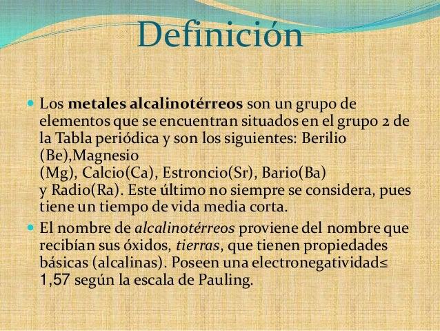 Grupo iia de la tabla peri 243 dica de los elementos metales alcalinos t