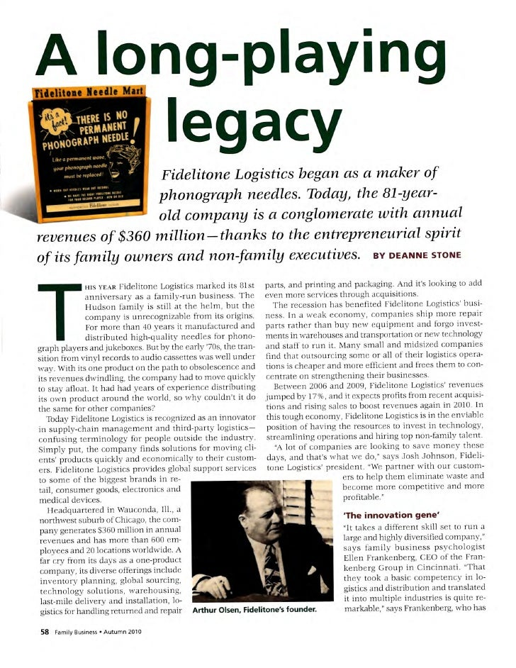 Fidelitone Logistcs Article Fall 2010 Sm