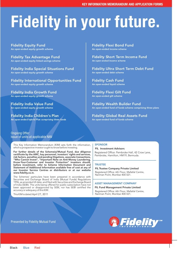 Fidelity tax advantage fund application form
