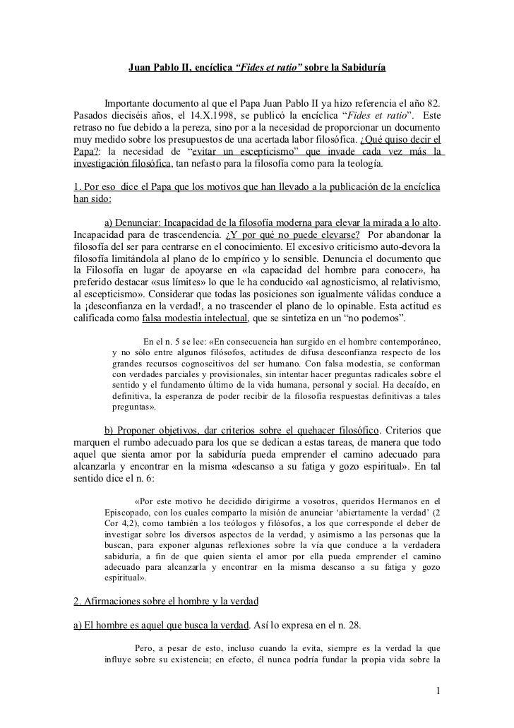 """Juan Pablo II, encíclica """"Fides et ratio"""" sobre la Sabiduría        Importante documento al que el Papa Juan Pablo II ya h..."""