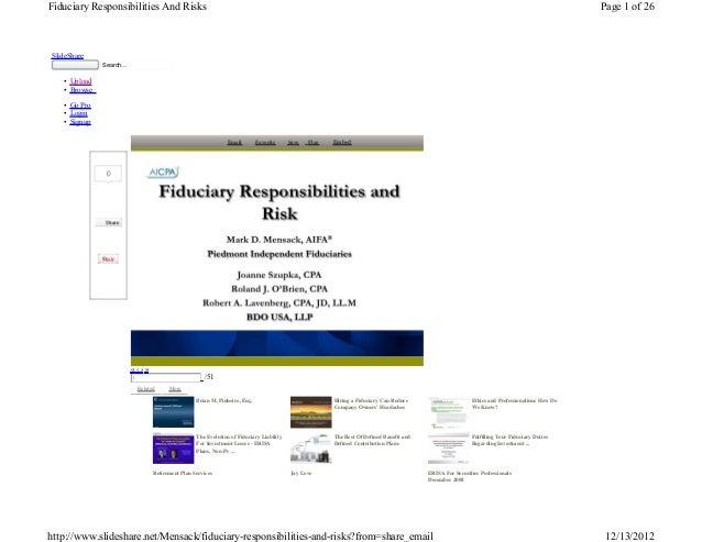 Fiduciary responsibilities-an
