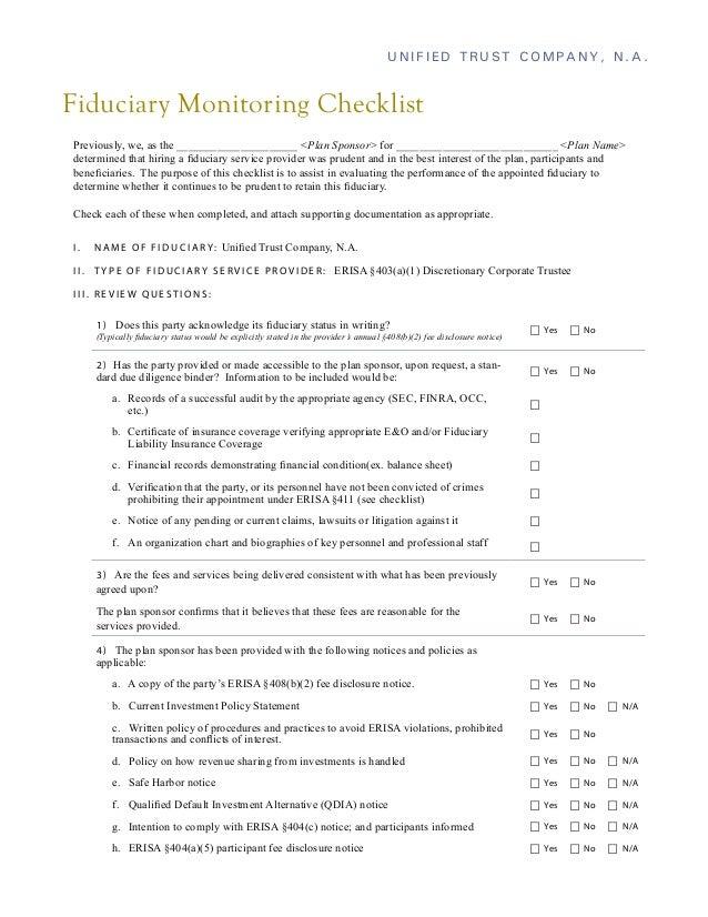 Fiduciary Monitoring Checklist