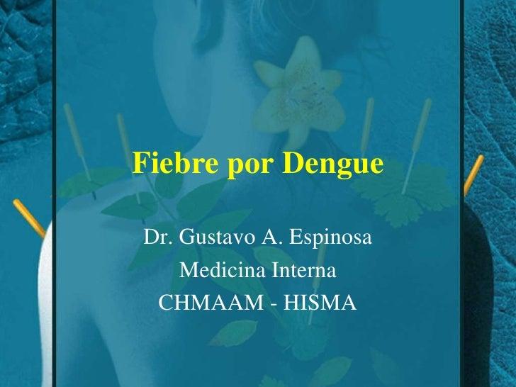 Fiebre por Dengue<br />Dr. Gustavo A. Espinosa<br />Medicina Interna<br />CHMAAM - HISMA<br />