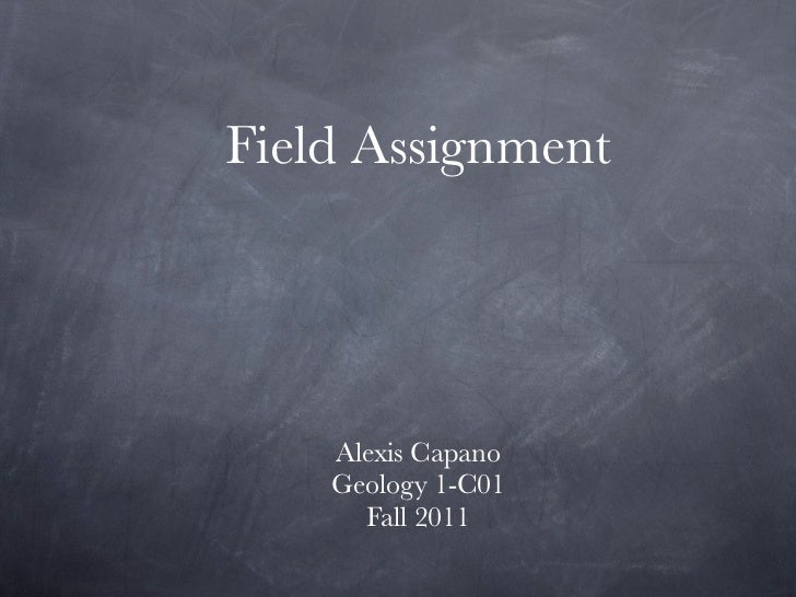 Field Assignment    Alexis Capano    Geology 1-C01      Fall 2011