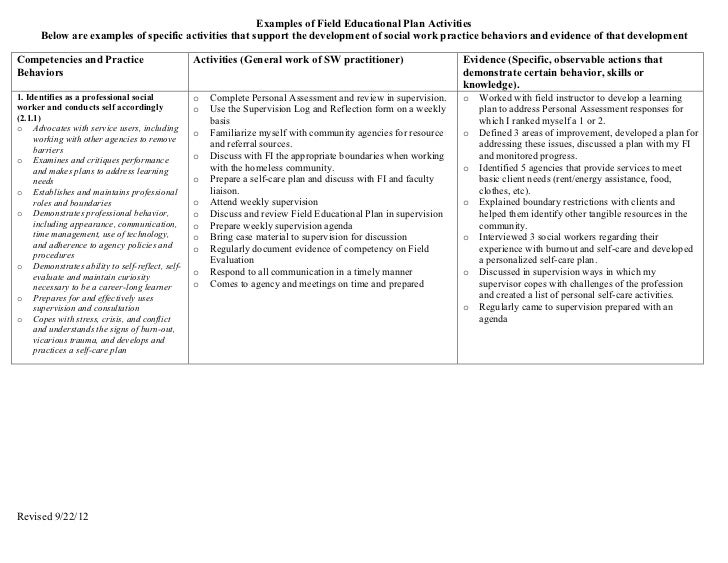 Examples of Field Educational Plan Activities      Below are examples of specific activities that support the development ...