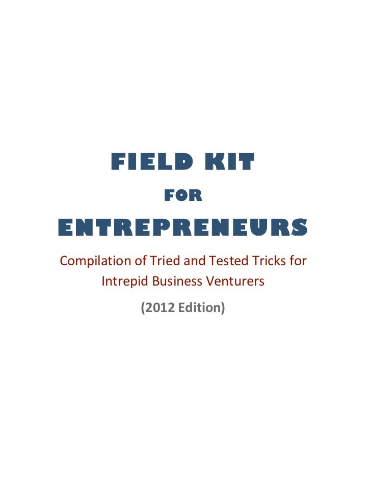 Field kit for entrepreneurs e book