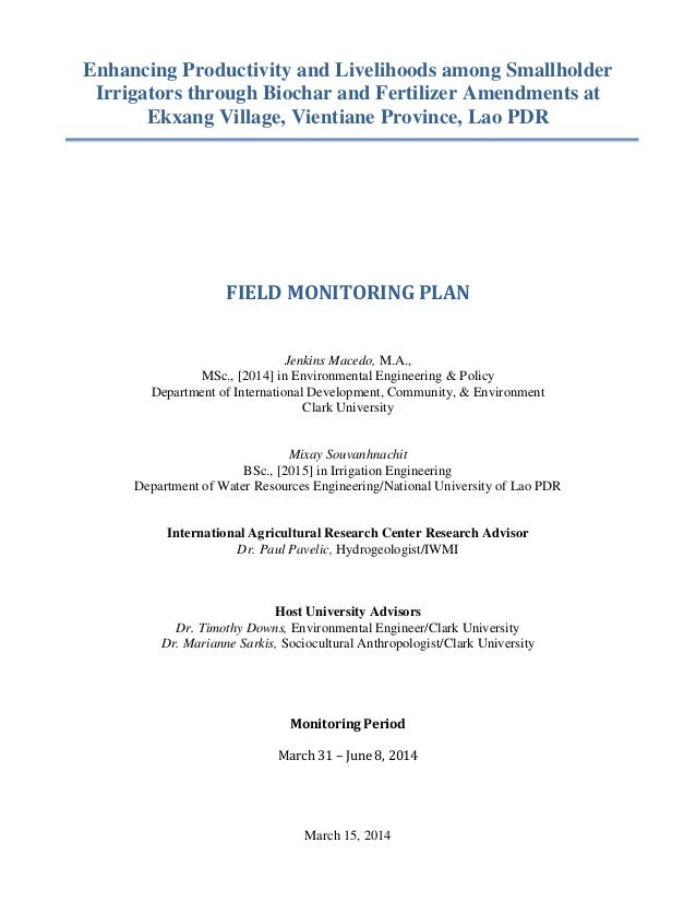 Enhancing Productivity and Livelihoods among Smallholder Irrigators through Biochar and Fertilizer Amendments at Ekxang Vi...