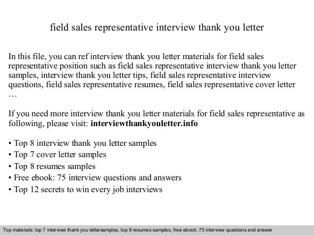 Field sales representative cover letter