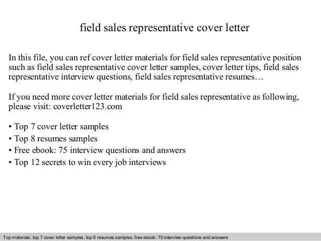 Field sales representative cover letter