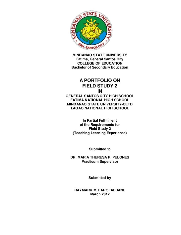 MINDANAO STATE UNIVERSITY    Fatima, General Santos City     COLLEGE OF EDUCATION  Bachelor of Secondary Education      A ...