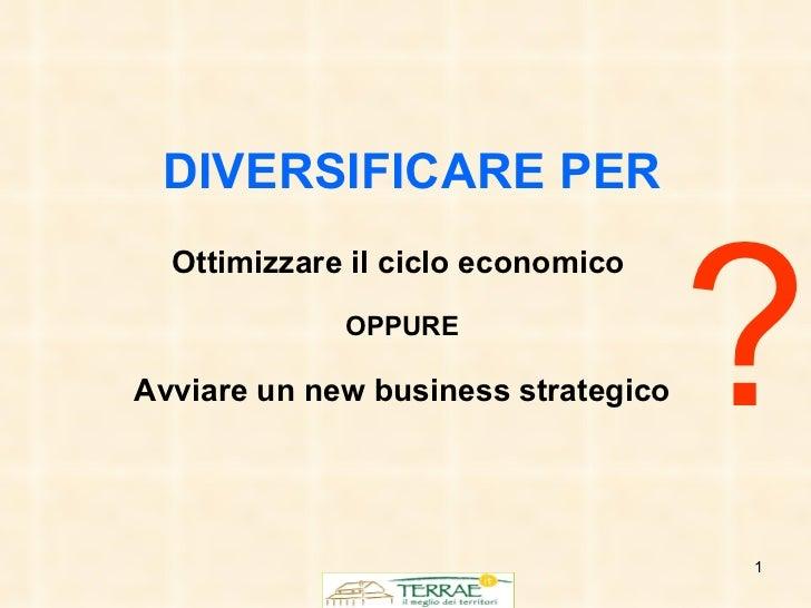 DIVERSIFICARE   PER Ottimizzare il ciclo economico   OPPURE Avviare un new business strategico ?