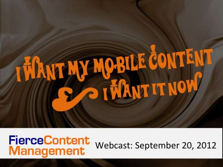 I Want Control Of My Mobile Content And I Want It Now