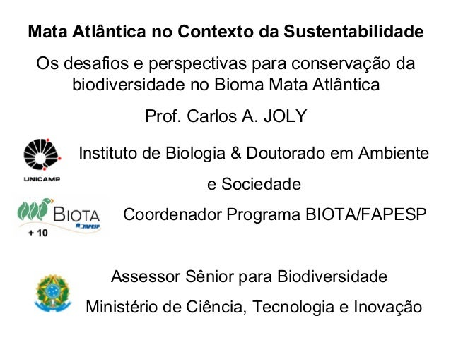 Mata Atlântica no Contexto da Sustentabilidade Os desafios e perspectivas para conservação da     biodiversidade no Bioma ...