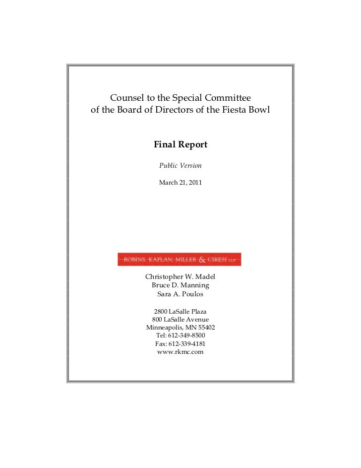 Counsel to the Special Committee of the Board of Directors of the Fiesta Bowl                Final Report                 ...