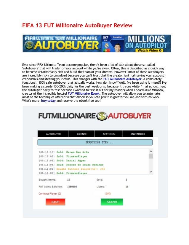 Fifa 13 FUT Millionaire AutoBuyer Review