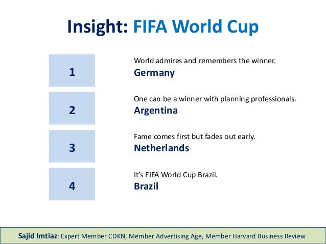 Insight: FIFA World Cup 1 World admires and remembers the winner. Germany One can be a winner with planning professionals....