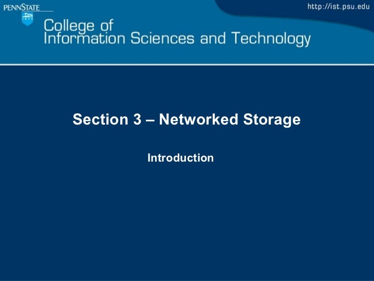 Section 3 – Networked Storage Introduction