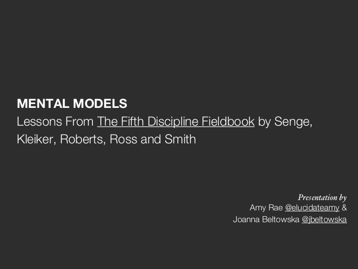 MENTAL MODELSLessons From The Fifth Discipline Fieldbook by Senge,Kleiker, Roberts, Ross and Smith                        ...