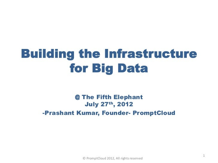 Building the Infrastructure       for Big Data            @ The Fifth Elephant               July 27th, 2012   -Prashant K...