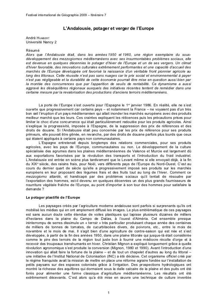 Festival international de Géographie 2009 – Itinéraire 7                          L'Andalousie, potager et verger de l'Eur...