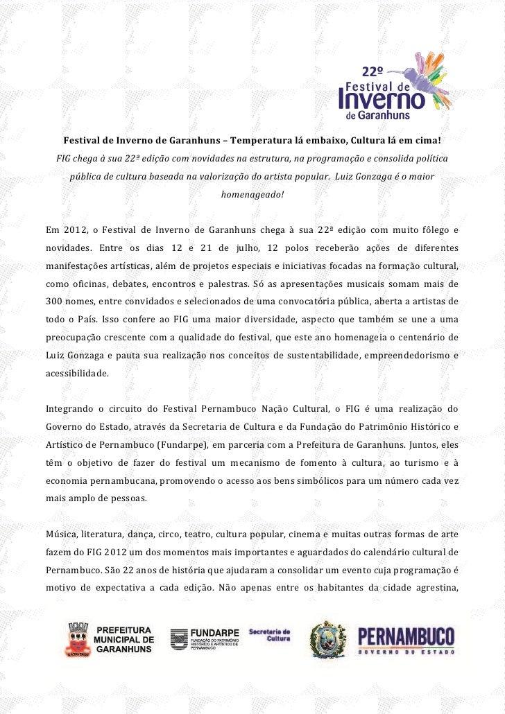 Fig 2012 - Festival de Inverno de Garanhuns - release e programação completa (26/06/2012)