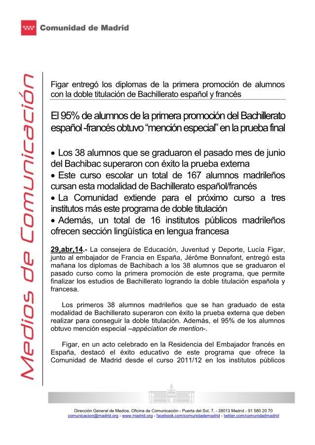 Figar entregó los diplomas de la primera promoción de alumnos con la doble titulación de bachillerato español y francés