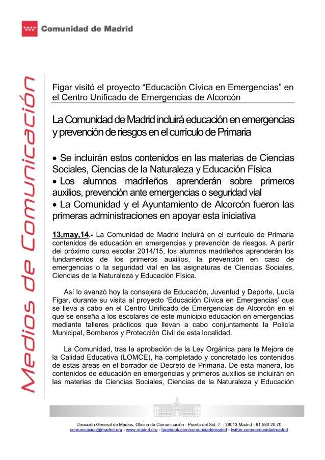 """Lucía Figar visitó el proyecto """"educación cívica en emergencias"""" en el centro unificado de emergencias de Alcorcón"""