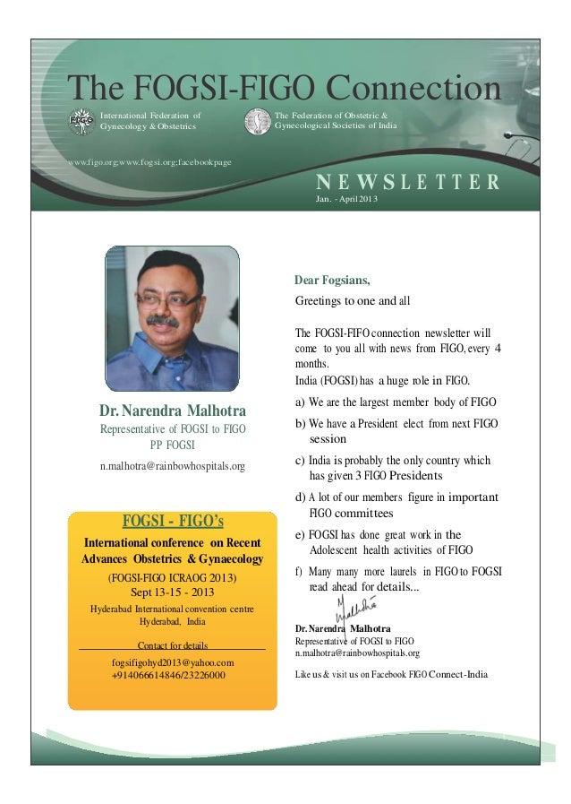 FOGSI-FIGO CONNECTION newsletter-2013 JAN-APRIL ISSUE........