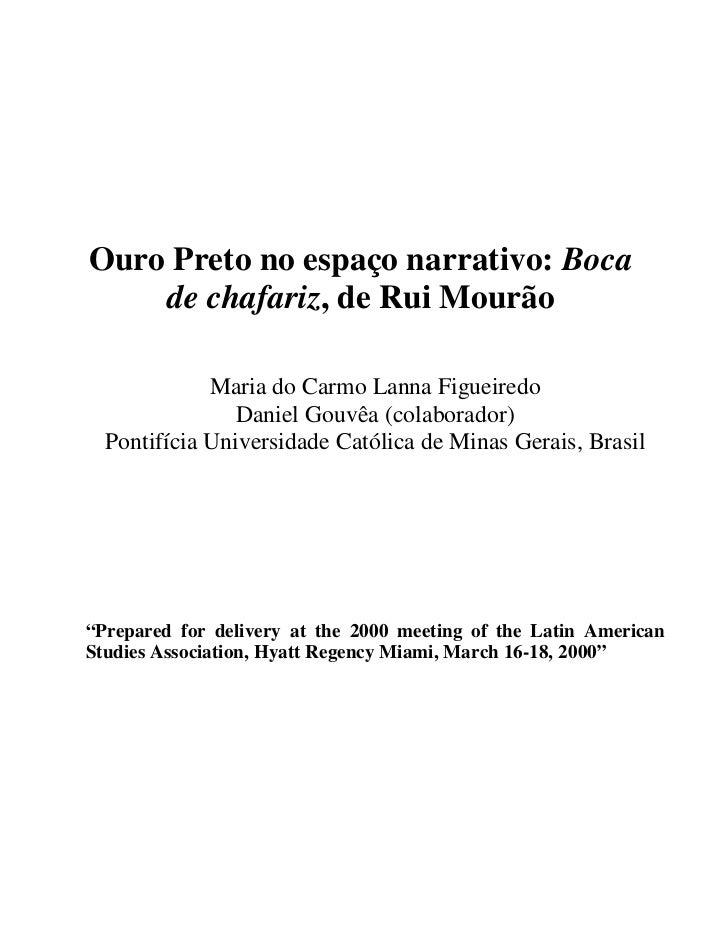 Ouro Preto no espaço narrativo: Boca    de chafariz, de Rui Mourão             Maria do Carmo Lanna Figueiredo            ...