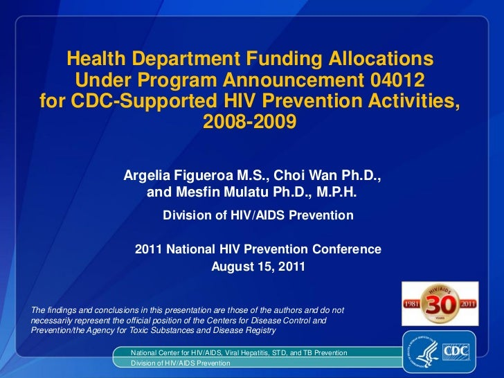 Health Department Funding Allocations Under Program Announcement 04012 for CDC-Supported HIV Prevention Activities, 2008-2009