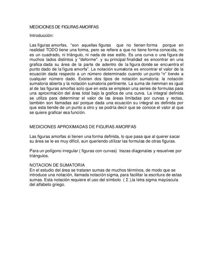 """Mediciones De Figuras Amorfas<br />Introducción:Lasfigurasamorfas, """"son aquellasfiguras que no tienenforma porque ..."""