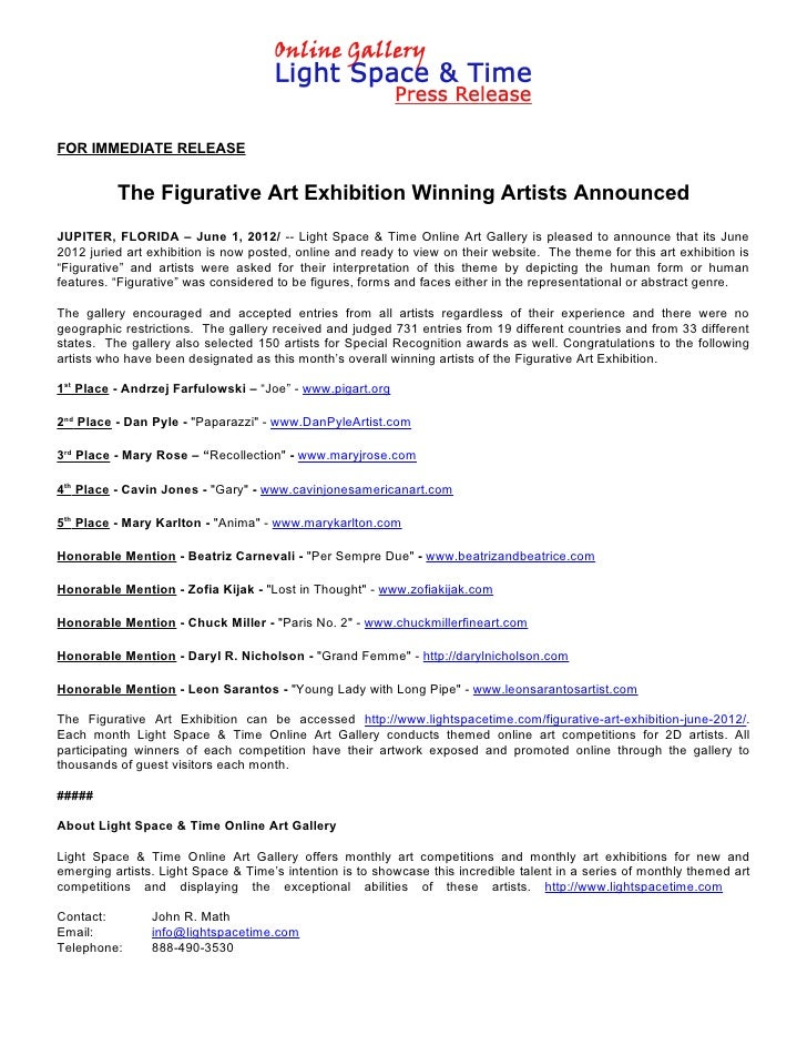 FOR IMMEDIATE RELEASE          The Figurative Art Exhibition Winning Artists AnnouncedJUPITER, FLORIDA – June 1, 2012/ -- ...