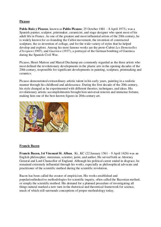 PicassoPablo Ruiz y Picasso, known as Pablo Picasso; 25 October 1881 – 8 April 1973), was aSpanish painter, sculptor, prin...