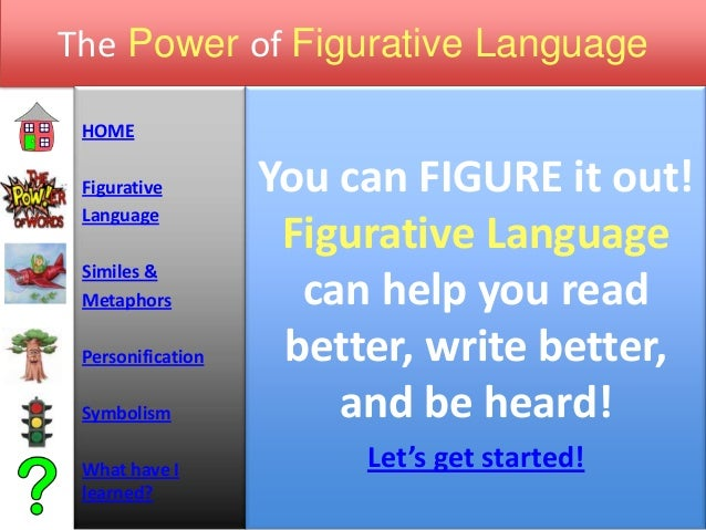 The Power of Figurative LanguageHOMEFigurativeLanguageSimiles &MetaphorsPersonificationSymbolismWhat have Ilearned?You can...