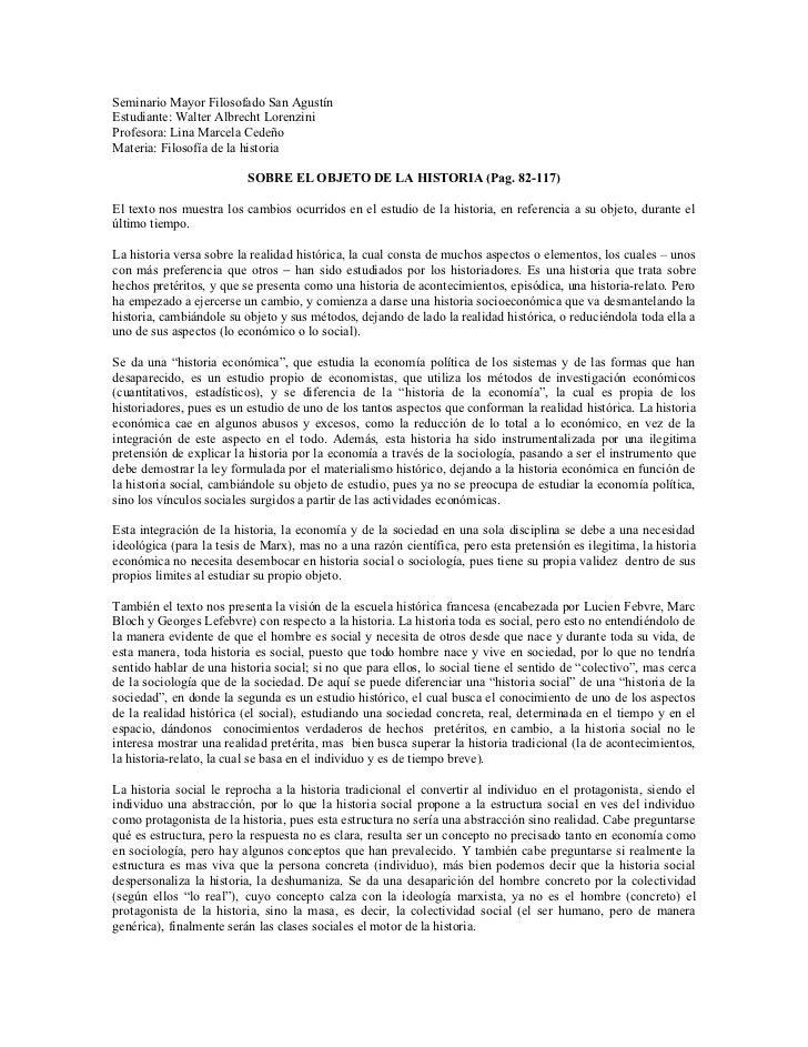 SOBRE EL OBJETO DE LA HISTORIA (Pag. 82-117)