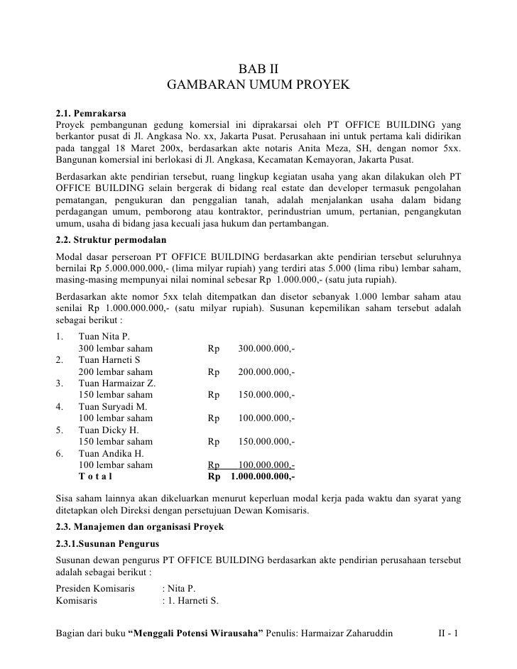 BAB II                            GAMBARAN UMUM PROYEK  2.1. Pemrakarsa Proyek pembangunan gedung komersial ini diprakarsa...