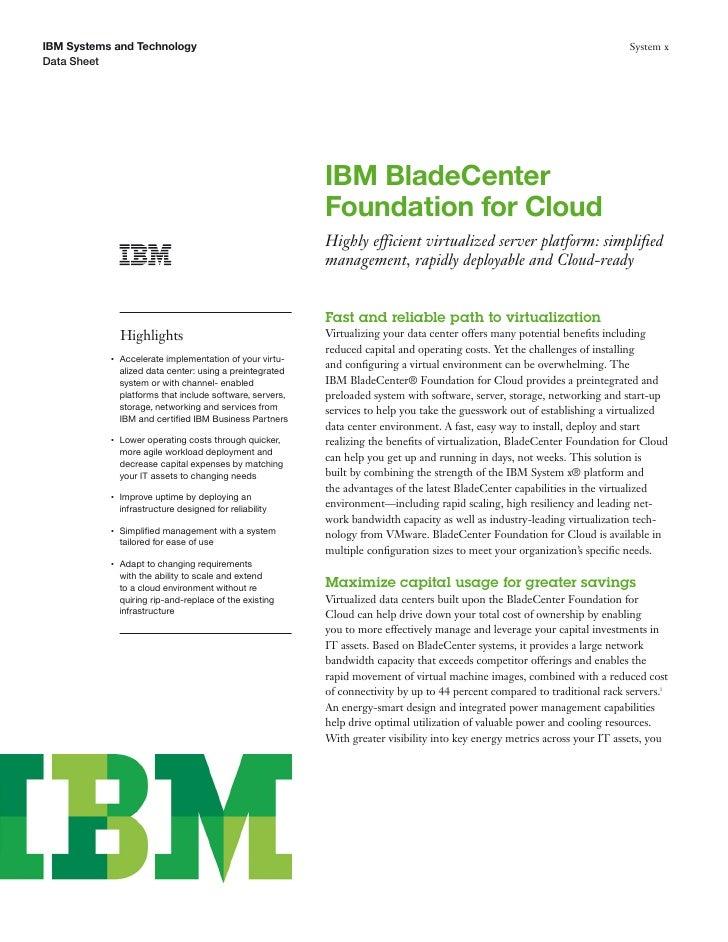 IBM BladeCenter Foundation for Cloud