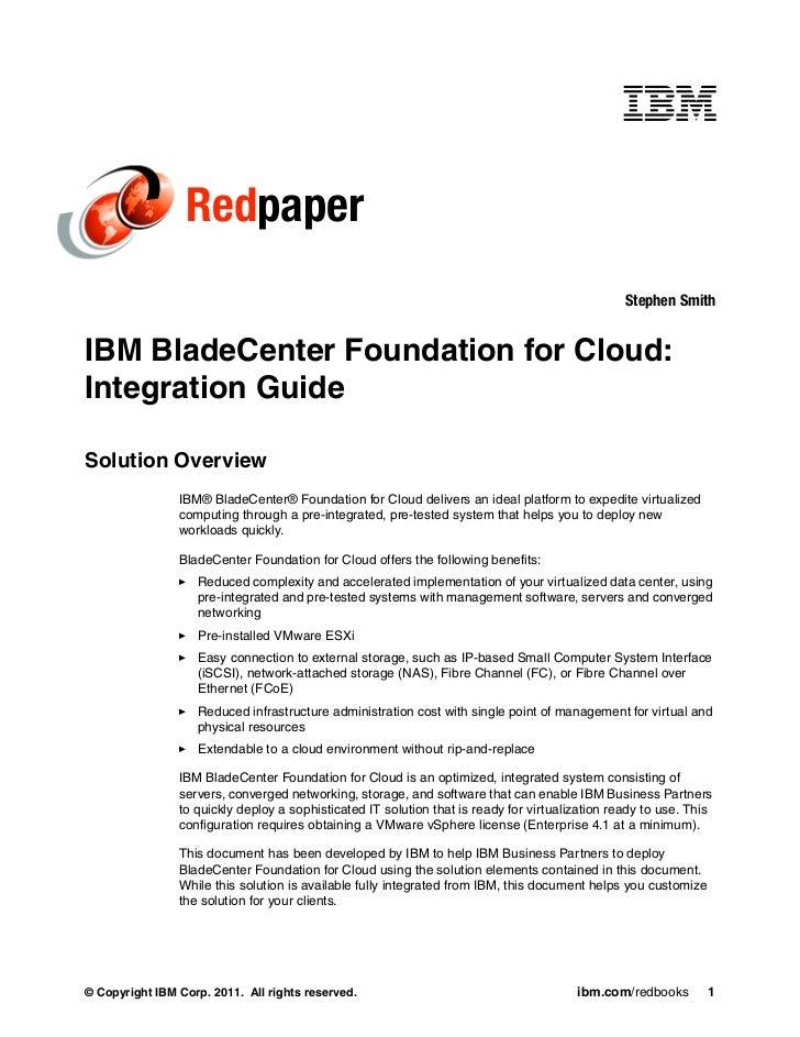 IBM BladeCenter Foundation for Cloud: Integration Guide