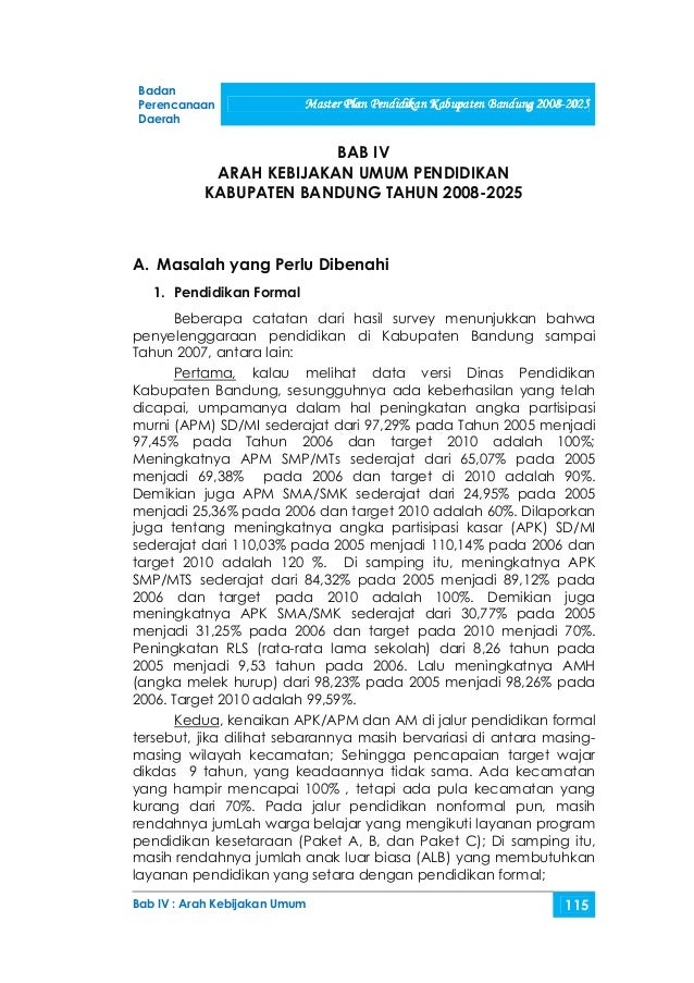 Badan Perencanaan               Master Plan Pendidikan Kabupaten Bandung 2008-2025                                       P...