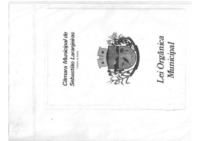 Lei orgânica municipal de Sebastião Laranjeiras - BA