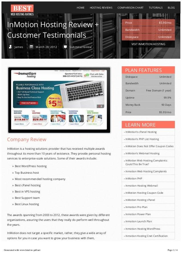 HOME  HOSTING REVIEWS  InMotion Hosting Review + Customer Testimonials James  March 28, 2012  COMPARISON CHART  TUTORIALS ...