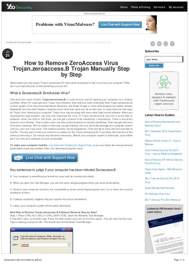 How to Remove ZeroAccess Virus Trojan.zeroaccess.B Trojan Manually Step by Step - YooSecurity Removal Guides